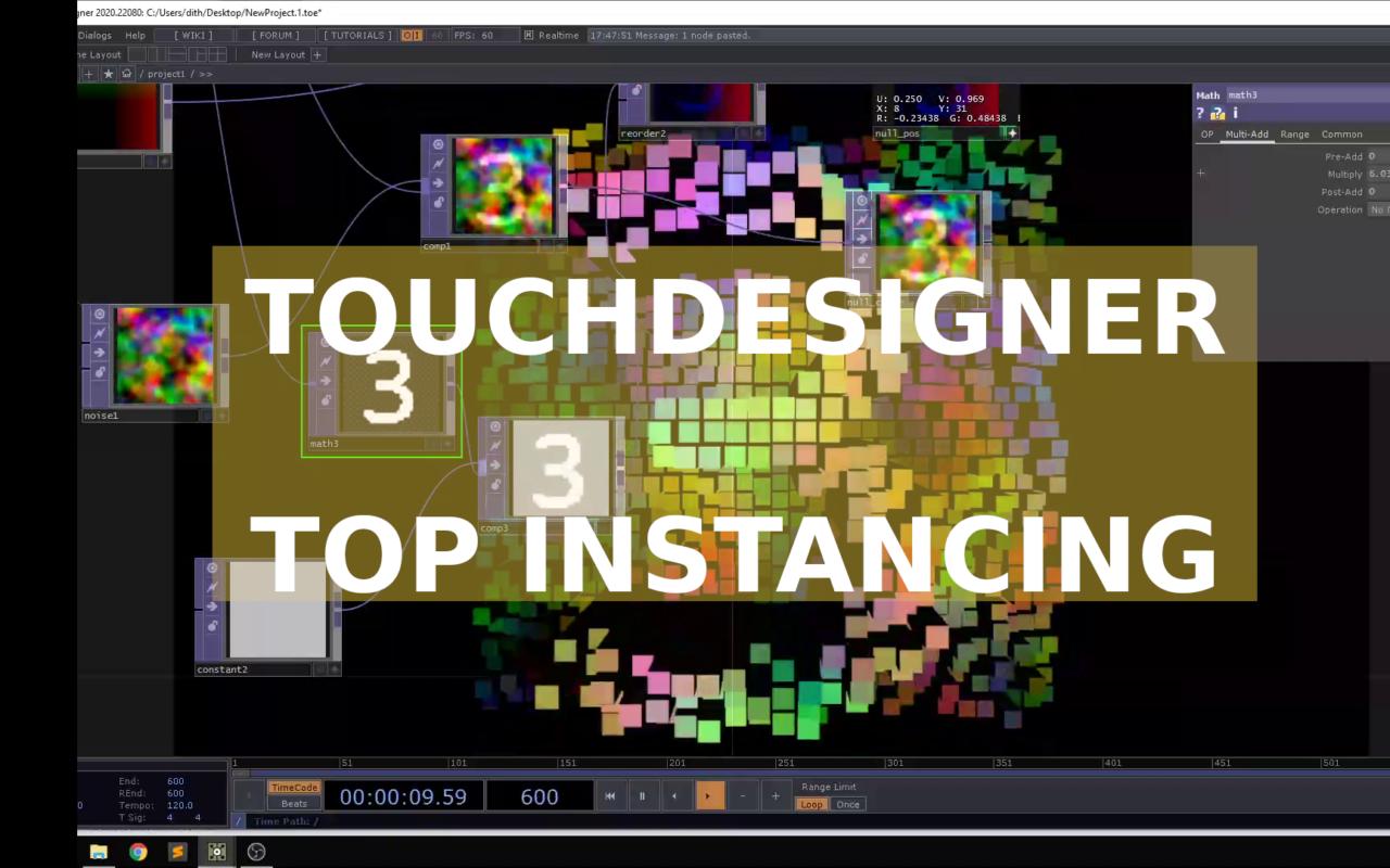 Capture d'écran d'une session Touchdesigner